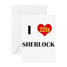 I Heart Sherlock 221B Greeting Cards
