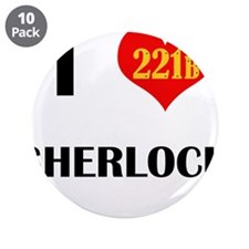 "I Heart Sherlock 221B 3.5"" Button (10 pack)"