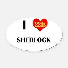 I Heart Sherlock 221B Oval Car Magnet