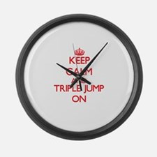 Keep calm and The Triple Jump ON Large Wall Clock