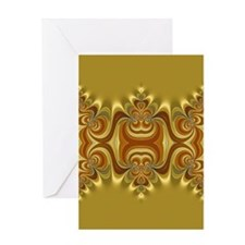 Yellow Gold Groovy Lace Greeting Cards