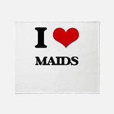 I Love Maids Throw Blanket