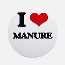 I Love Manure Ornament (Round)