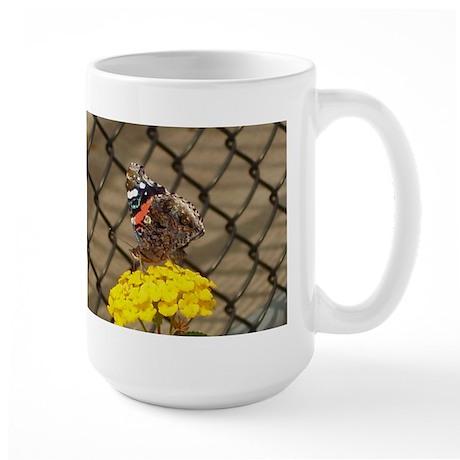 Butterfly On A Yellow Lantana Large Mug
