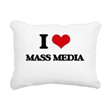 I Love Mass Media Rectangular Canvas Pillow