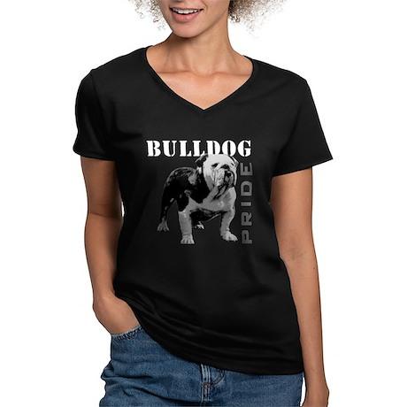 Bulldog Pride Women's V-Neck Dark T-Shirt