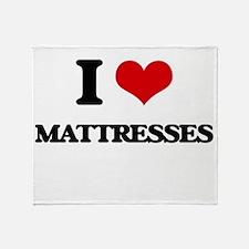I Love Mattresses Throw Blanket