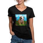 Puppy Dream Meadow Women's V-Neck Dark T-Shirt