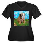 Puppy Dream Meadow Women's Plus Size V-Neck Dark T