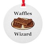 Waffles Wizard Round Ornament