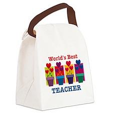 Heart Flower Best Teacher Canvas Lunch Bag