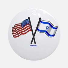 American Israel Flags Jewtee.png Ornament (round)