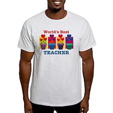 Heart Flower Best Teacher T-Shirt