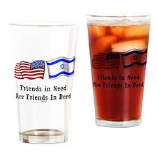 US Israel Friendship Drinking Glass