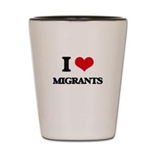 I Love Migrants Shot Glass
