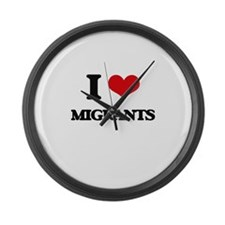 I Love Migrants Large Wall Clock