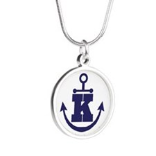Anchor Monogram K Silver Round Necklace