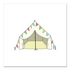 """GLAMPING TENT Square Car Magnet 3"""" x 3"""""""