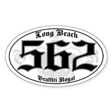 """LONG BEACH 562 OLD SKOOL"" Oval Decal"