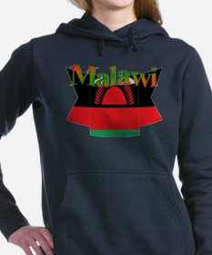 Malawi flag ribbon Women's Hooded Sweatshirt