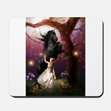 The Girl and the Dark Unicorn Mousepad