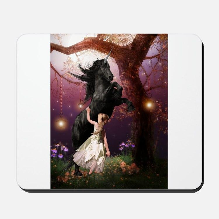 The Girl and the Dark Unicorn Mousepad