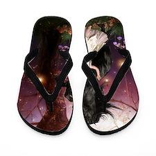 The Girl and the Dark Unicorn Flip Flops
