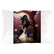 The Girl and the Dark Unicorn Pillow Case