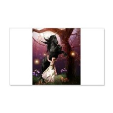 The Girl and the Dark Unicorn Wall Decal
