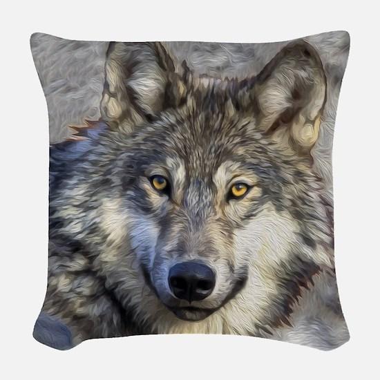Grey Wolf Woven Throw Pillow