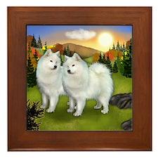 Samoyed Dogs Fall Framed Tile