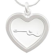 Half Guitar Outline Necklaces
