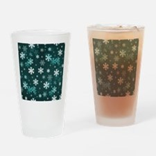Dark Green Snowflakes Drinking Glass
