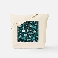 Dark Green Snowflakes Tote Bag