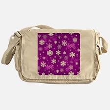 Light Lilac Snowflakes Messenger Bag