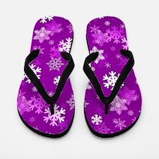 Light Lilac Snowflakes Flip Flops