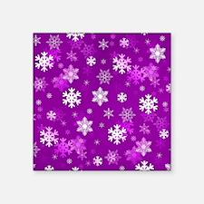 "Light Lilac Snowflakes Square Sticker 3"" x 3"""