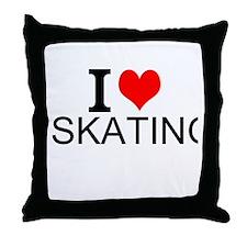 I Love Skating Throw Pillow