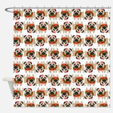 Unique Holiday pug Shower Curtain