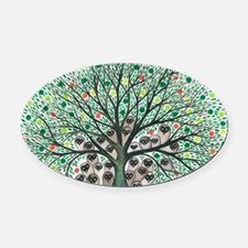 Inyo Owls in Tree Oval Car Magnet