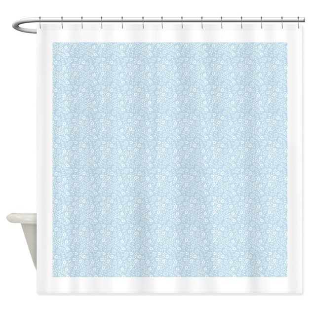 baby blue floral pattern shower curtain by patterndesigns