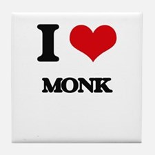 I Love Monk Tile Coaster