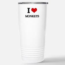 I Love Monkeys Stainless Steel Travel Mug