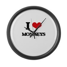 I Love Monkeys Large Wall Clock