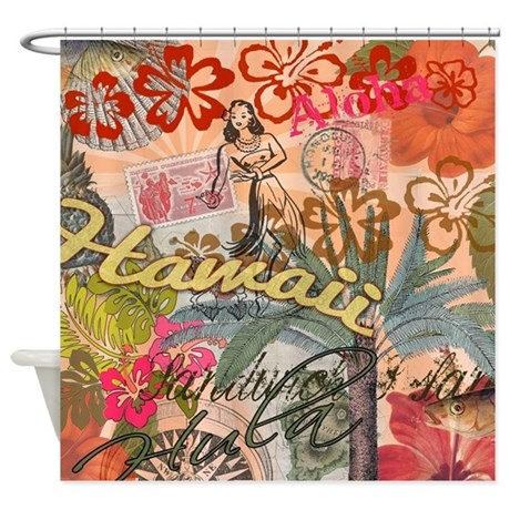 Vintage Hawaii Travel Colorful Hawaiian Tropical S  Tropical Shower Curtain