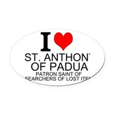 I Love St. Anthony of Padua Oval Car Magnet