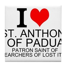 I Love St. Anthony of Padua Tile Coaster