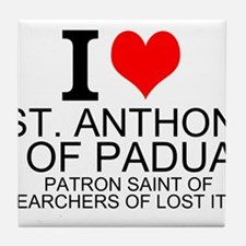 I Love St. Anthony of Padua Tile Coaster