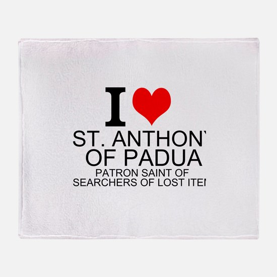 I Love St. Anthony of Padua Throw Blanket