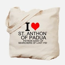 I Love St. Anthony of Padua Tote Bag
